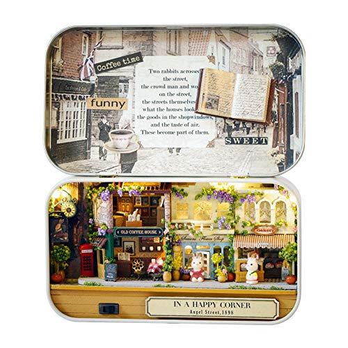 HEEPDD Bricolaje Mini casa de muñecas de Madera Miniaturas, Rompecabezas 3D DreamHouse Miniatura de Bricolaje Hecha a Mano con Muebles LED Mejor Regalo de cumpleaños(Esquina de la Calle)