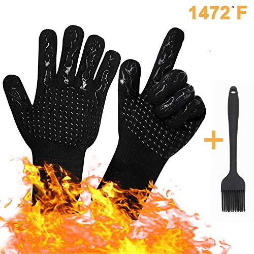 Tuansheng BBQ Grill Gloves 1472℉ Extreme Griller Heat Resistant Oven Mitts Glove Silicone NonSlip for Barbecue Cooking Baking Grilling Kitchen Pot Holder