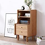 FTFTO Daily Equipment Nightstand Solid Wood Nightstand Side Bedroom Storage Drawer and Shelf Bedside (Color : Natural Size : 45x39x80CM)