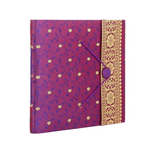 Álbum de fotos de tela de Sari grande, color morado, 30 páginas para 120 fotos de 6 x 4 o 60 fotos de 7 x 5, comercio justo, hecho a mano, álbum de fotos, de recortes y manualidades