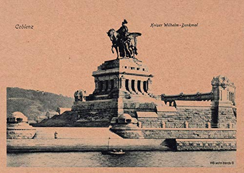 WB wohn trends Postkarte, Deutsches Eck Koblenz Coblenz Nostalgie-Karte, Kaiser Wilhelm Preußen Vintage Karton braun 10,5x14,8cm A6