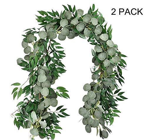 Kyrieval, 2 verpakkingen van 2 stuks, kunstzilver, eucalyptusbladen, slinger met wilgengraven, takken, bladeren, snoer voor deuren, groen, slinger, tafelloper, garland voor binnen en buiten