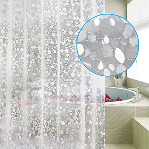 Carttiya Cortina Baño, EVA Cortinas de Ducha/Bañera 180X200 CM, Impermeable, Antimoho, Antibacteriano, Blanco Semitransparente, con Ganchos de Plástico