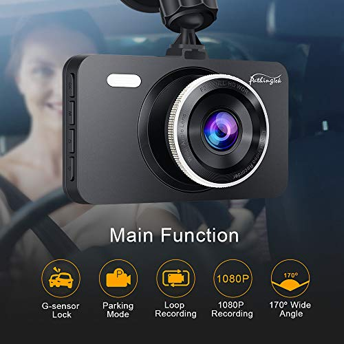 Pathinglek Dash Cam [2020 New Version] 1080P FHD Car Dash Camera 3 inch Car Camera with Super Night Vision, 170°Wide Angle, Parking Monitor, Loop Recording, and Motion Detection (Black)