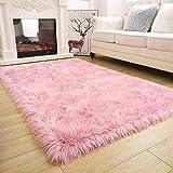 ISEAU Soft Faux Fur Fluffy Area Rug, Luxury Fuzzy Sheepskin Carpet Rugs for Bedroom Living Room, Shaggy Silky Plush Carpet Bedside Rug Floor Mat, 3ft x 5ft, Pink