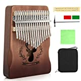 M SANMERSEN Thumb Piano 17 Keys, Portable Finger Piano with Tune Hammer/ Tune Sticker Musical Instruments Toys for Kids Adults Beginners