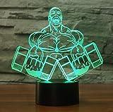 Hantel Muskelmann Form 3D Nachtlicht Schlafzimmer Tischlampe 7 Farben Visuelle LED Bodybuilding...