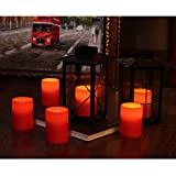 GiveU 3X4 Inches Flameless Plastic Pillar Led Candle With Timer,Battery Operated for Valentine's Day Decor,Red,Pack of 2
