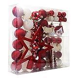 YARNOW Christmas Ball Set 60 Paquete De Regalo De Pentagrama Colgante para Árbol De Navidad (Rojo Y Blanco)