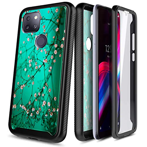 NZND Case for T-Mobile REVVL 5G with Built-in Screen Protector, Full-Body Protective Shockproof Rugged Bumper Cover, Impact Resist Durable Phone Case -Plum Blossom