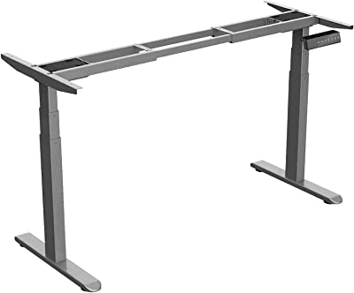 Wistopht Electric Standing Desk Frame | 3 Stage Dual Motor Electric Motorised Height Adjustable Sit Stand Table Base Home Office Workstation | Memory Function