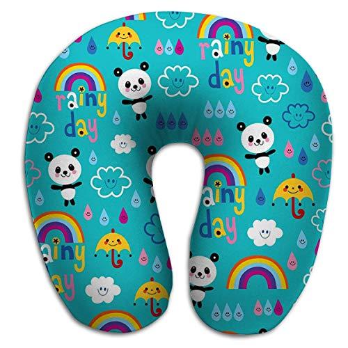 Almohada en Forma de U, Almohada de Descanso de Viaje de Moda para el Dolor de Cuello, día lluvioso, Nubes, Arco Iris, Paraguas, Gotas de Lluvia, Dibujo de patrón de Osos Panda