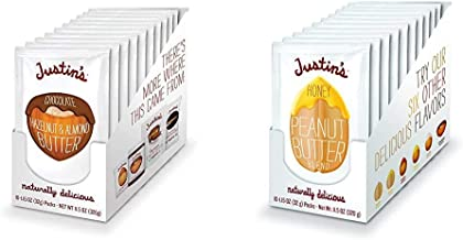 Justin's Chocolate Hazelnut & Almond Butter Squeeze Pack, Organic Cocoa (1.15oz each) (Pack of 10) & Justin's Honey Peanut...