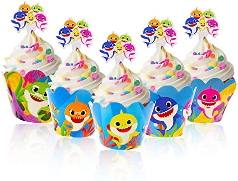 Bomcan 48 Pcs Baby Shark Cupcake Toppers and Wrappers 24 Set Cute Shark Cupcake Liners Decorations product image
