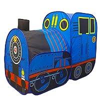 子供たちはテントをします ポータブルプレイ子供テント列車テントボーイガール城屋内屋外赤ちゃんプレイハウス折りたたみテント 子供のテント秘密基地教育玩具 (色 : 青, Size : 123×92×62 cm)