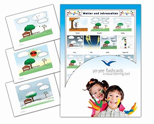 Yo-Yee Flashcards Bildkarten zur Sprachförderung - Wetter und Jahreszeiten - Erweitere spielerisch Grundwortschatz, Satzbau und Grammatik - Für Kita, Kindergarten, Grundschule oder Logopädie