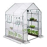 relaxdays serra in telo, 4 finestre, 2 scaffali, tenda in pellicola, per pomodori, 2m², hlp 190x140x140 cm, trasparente, bianco-verde