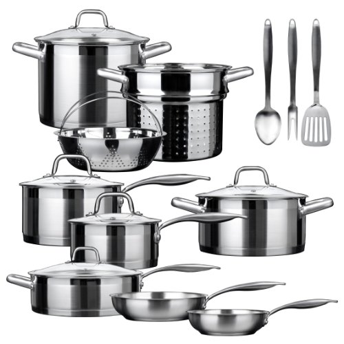 Duxtop SSIB-17 Professional 17 Pieces Stainless Steel Induction Cookware Set, Impact-bonded...