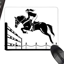 HMdy88PT Cartoon Racing Horse with a Jockey Girl Jumping Above Barrier Barn Farming Image Print logitech Gaming Mouse padsize W8 xL9.5 Black and White