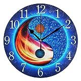 Mnsruu Reloj de pared redondo con símbolo de Yin Yang, silencioso, pintura al óleo para dormitorio, sala de estar, oficina, escuela, decoración del hogar