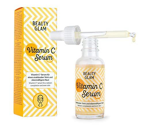 BEAUTY GLAM - Vitamin C Serum - Gesichtsserum für einen strahlenden Teint und ebenmäßigere Haut - Vegan, ohne Farbstoffe, silikonfrei und parabenfrei - 1 x 30 ml