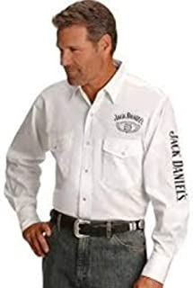 Jack Daniel's Mens Old No. 7 Long Sleeve Embroidered Western Shirt (White, Large)