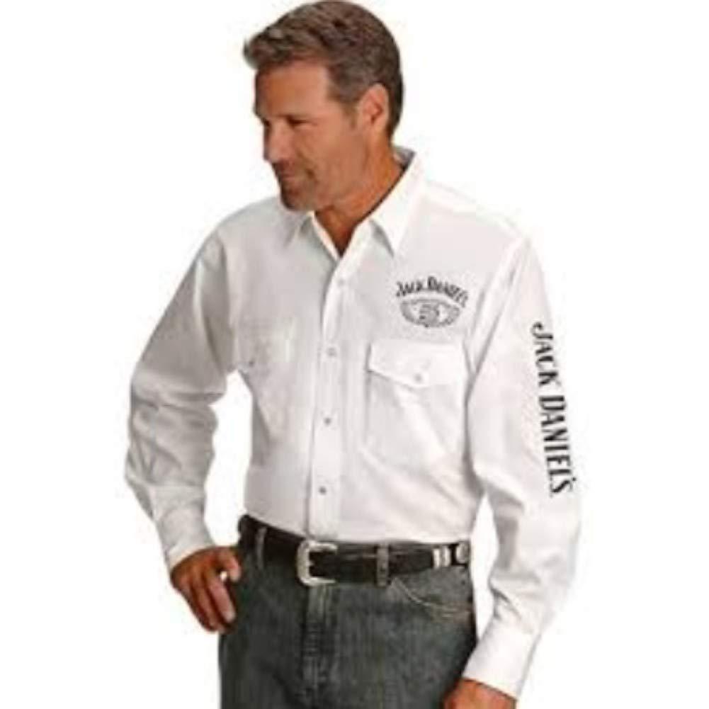 Jack Daniels Men's Daniel's Logo Rodeo Long Sleeve Western Shirt White Medium