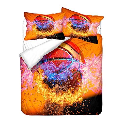 YZDM - Juego de ropa de cama 3D de baloncesto impreso, funda de edredón y funda de almohada de microfibra para niños y niños (3,200 x 200)