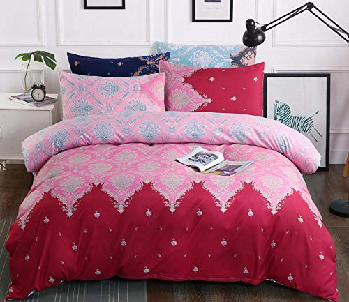 ZLMW Printed Duvet Cover Set 260X220CmFlower PatternUltra Soft Hypoallergenic Microfiber Quilt Cover Sets Gift for Teens Girls,with1 Quilt Cover 2 Pillowcases 50 X 75cm