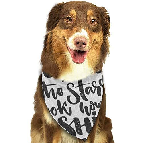 YAGEAD Pañuelo para Perros Cachorro y pañuelos para Mascotas, cumpleaños Mira Las Estrellas Cómo Brillan Mensaje de Cita de Pir Letras Negras en la Belleza Bufanda para Mascotas