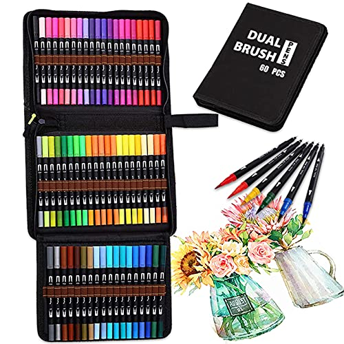 Dual Brush Marker Pens 60 Colors for Kids & Adults, Astonlink Fine Tip Markers & Brush Tip Pens Coloring Drawing Markers Art Supplies for Books Coloring Notes Taking Bullet Journaling Planning