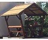 Pavillon überdachte Sitzgruppe mit ca. 200x176cm und einer Höhe von 237cm - Pfosten für Sichtschutzwände, Elementhalter, Gartenpfosten, Zaunpfosten, Einschlaghülsen, Aufschraubhülsen, Pfosten zum einbetonieren, Pfosten für den Erdverbau, Pfostenträger, U Montageprofil, WPC Zubehör, Aufschraubpfosten, -- großes Sortiment an Sichtschutz, Bambus, Schilf, Naturprodukte und Zubehör für Garten