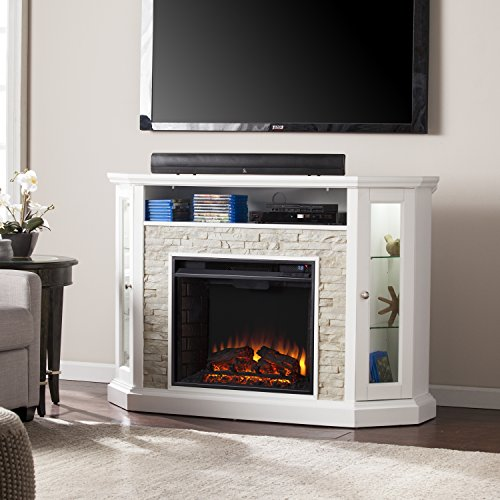 Southern Enterprises Redden Corner Convertible Media Electric Fireplace, White with Faux Stone
