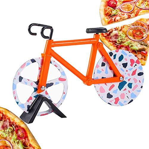 CNXUS Fahrrad Pizzaschneider, Edelstahl Doppel Pizza Schneider, Schneidräder aus Edelstahl, Cutter für Pizza und Teig für Küchengeräte, Pizza Cutter aus Antihaftbeschichtetem für Party Usw(Orange)