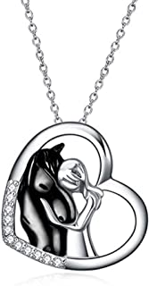 Sterling Silver Lovely Animal Heart Moon Pendant Necklace...