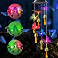 Newest Solar Wind Chimes Changing Colors - Waterproof Solar Powered Butterfly Wind Chimes For Outside With 6 bells, LED Solar Butterfly Lights, Housewarming Gift For Garden, Patio, Yard, Home Decor