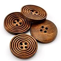 Vi.yo ボタン ウッドボタン 木製 縫製 手芸材料 50個入り 丸型 コーヒー