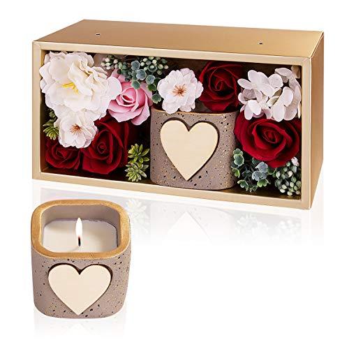 Danolt Velas Perfumadas Jabón Rose Regalo Set, Flor de Rosa jabón Artificial y Velas de Aromaterapia de Cera de SOYA Natural con Caja de Regalo para el Día de San Valentín de Cumpleaños.