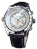 Jaragar Orologio automatico militare per gli uomini di sport meccanico calendario orologio da polso moda nero in vera pelle maschile orologio