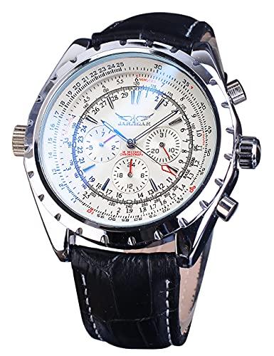 Jaragar Militar reloj automático para hombres deporte calendario mecánico reloj de pulsera moda negro cuero genuino reloj masculino