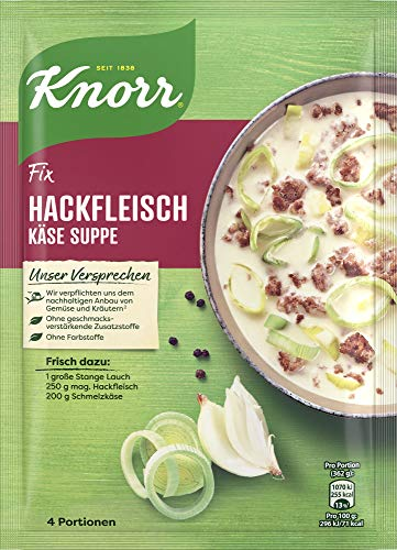 Knorr Fix Würzbasis (Hackfleisch Käse-Suppe mit Lauch), 4 Portionen, 58g