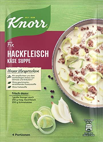 Knorr Fix Würzbasis (für eine schnelle Zubereitung Hackfleisch Käse-Suppe mit Lauch ohne Farbstoffe) 4 Portionen