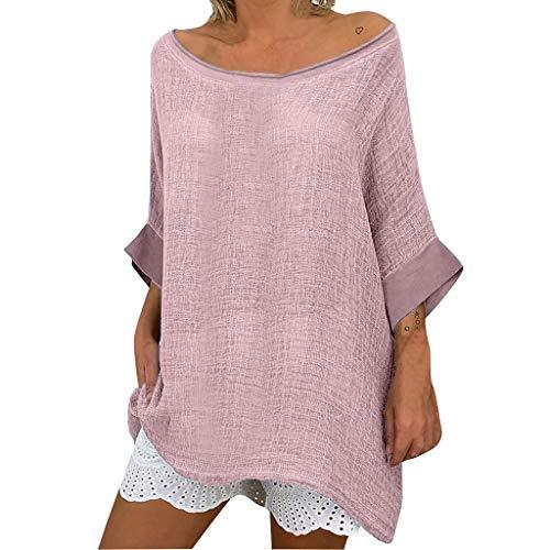 Topkal – Blusa de mujer para primavera y verano, cómoda, informal, de lino, cuello redondo, diseño informal Rosa. XXL
