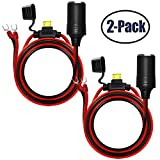 2Pack Female Cigarette Lighter 1.6FT Outlet Ring Terminal Plug Power Supply Cord 12V 16AWG Heavy Duty Cable Accessory 15A Fused DC Power 12 24 Volt Socket for Car Tire Inflator Air Pump By ZHSMS