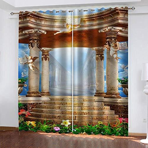 WUBMQ Vardagsrum sovrum öljett mörkläggningsgardiner 264 x 246 cm romersk kolumn ängelfigur 3D-tryck värmeisolerande ring topp fönsterbehandlingar 2 paneler moderna barn barnkammare kontor heminredning