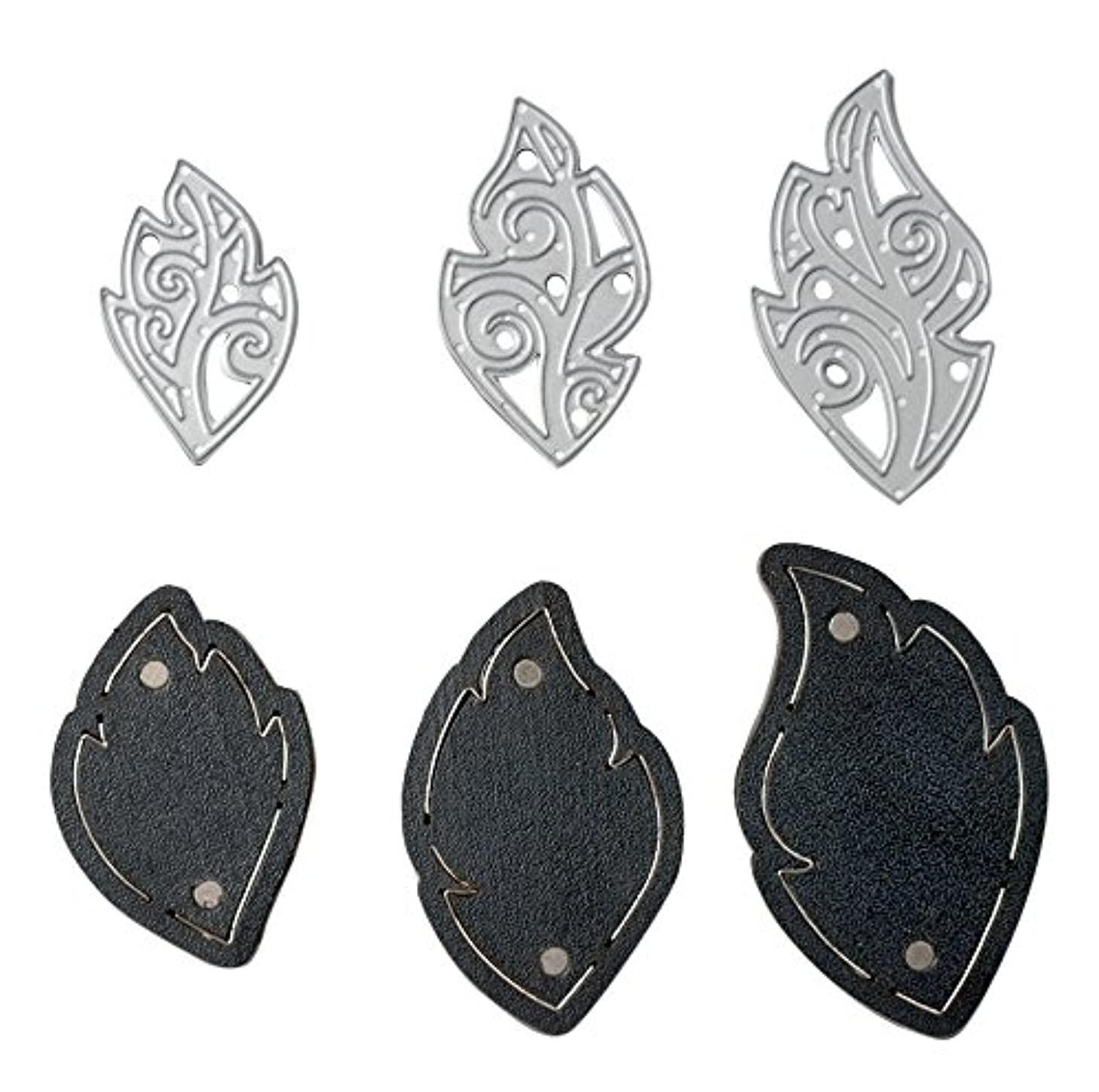 Sizzix 661330 Movers & Shapers Magnetic Die Set with Thinlits, Leaf Charms by Lindsey Serata (6 Pieces)