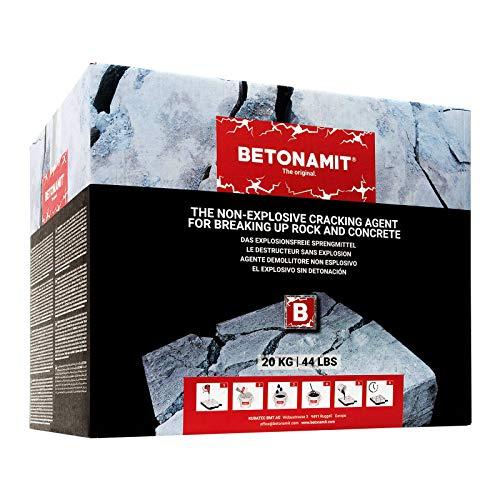 BETONAMIT® Original 20 kg explosionsfreies Sprengmittel für erschütterungsfreie Zerkleinerung von Fels, Stein und Beton kein Sprengschein erforderlich auch für Heimwerker sehr einfache Anwendung