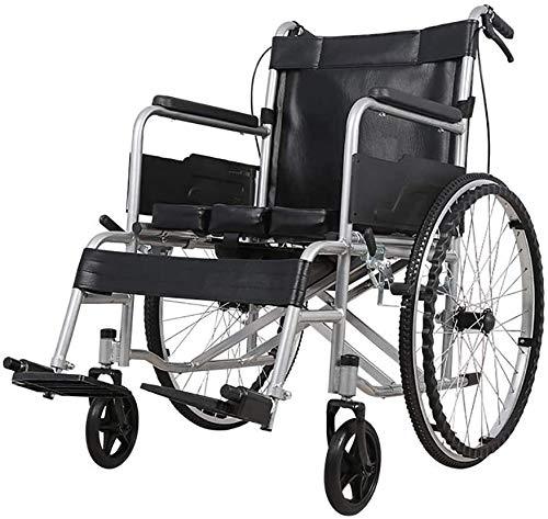 SOAR Rollstuhl Faltbar,Faltrollstuhl Faltbare Carbon Steel Rollstuhl, tragbarer Toilette Toilettensitz mit Pedale und Hand, verdickte 22mm Stahlrohr