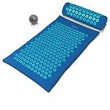 MyBeo - Estera de acupresión XL - Kit 3 en 1 con almohada y bola de masaje - Puntas para los puntos de presión del cuerpo - Ideal bienestar anti estrés yoga relajación muscular circulación sanguínea