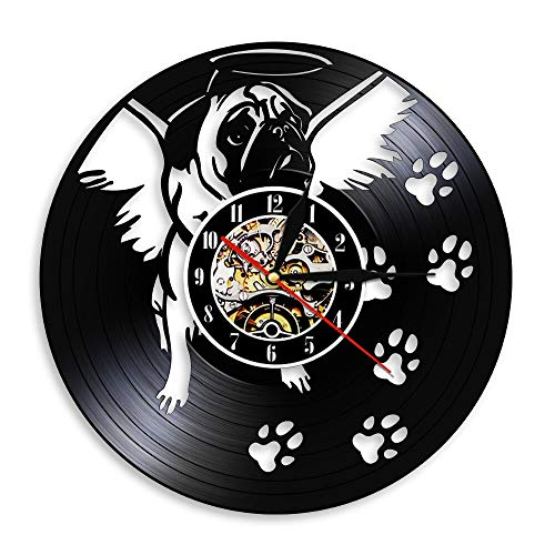 alicefen Bulldogge mit Engelsflügel Moderne Wandkunst Uhr England Bulldogge Hundepfote Wanddekor Wanduhr Vinylplatte Vintage Mops Hundeuhr Ohne LED